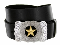 "8459 The Texas Star Men's Western Leather Belt - 1 1/2"" wide"