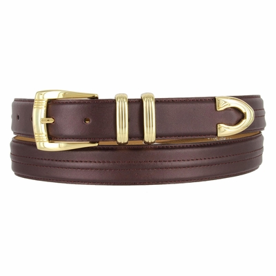"8580 Gold Buckle Set  Leather Dress Belt - 1 1/8"" Wide"