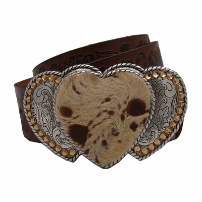 8738 Vintage Leather Belt - Triple Heart