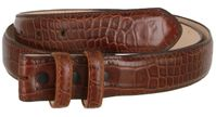 "4341 Alligator Embossed Genuine Leather Italian Calfskin Belt Strap - 1 1 /4"" WIDE - BROWN"
