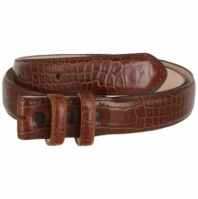 Alligator Embossed Genuine Leather Italian Calfskin Belt Strap - BROWN