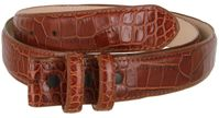 Alligator Embossed Genuine Leather Italian Calfskin Belt Strap - COGNAC