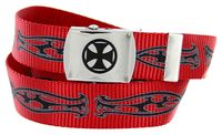 BF2207 Black Cross Canvas Military Web Punk Belt 1. 25 inch wide - Red