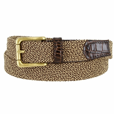 """BL002 Knitted Woven Elastic Stretch Fabric Casual Jeans Belt 1-1/4"""" wide - 30200-BL002 Brown/Gold"""