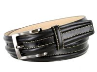 "BL007 Border Raised Genuine Leather Dress Belt - 1 3/8""Wide BLACK"