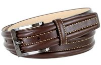 "BL007 Border Raised Genuine Leather Dress Belt - 1 3/8""Wide BROWN"