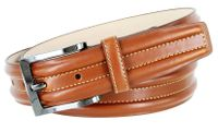 "BL007 Border Raised Genuine Leather Dress Belt - 1 3/8""Wide TAN"