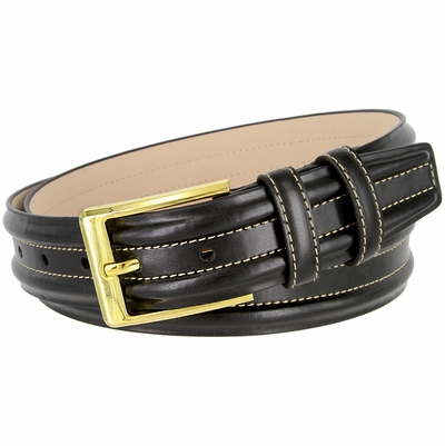 "BL007 Double Raised Lines Center Stitched Genuine Office Dress Leather Belt 1 3/8"" wide - Black"