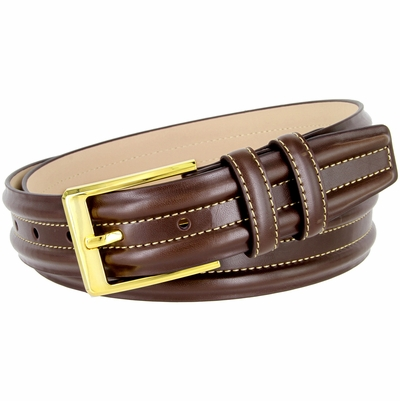 "BL007 Double Raised Lines Center Stitched Genuine Office Dress Leather Belt 1 3/8"" wide - Brown"