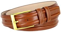 "BL007 Double Raised Lines Center Stitched Genuine Office Dress Leather Belt 1 3/8"" wide - Tan"