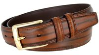 "BL008 Brushed Center Line Design Genuine Leather Office Casual Belt 1-1/4"" Wide - BROWN"