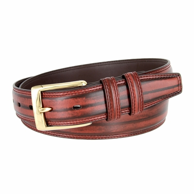 "BL008 Brushed Center Line Design Genuine Leather Office Casual Belt 1-1/4"" Wide - BURGUNDY"