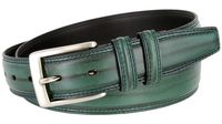 "BL008 Brushed Center Line Design Genuine Leather Office Casual Belt 1-1/4"" Wide - GREEN"