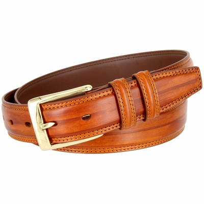"BL008 Brushed Center Line Design Genuine Leather Office Casual Belt 1-1/4"" Wide - TAN"