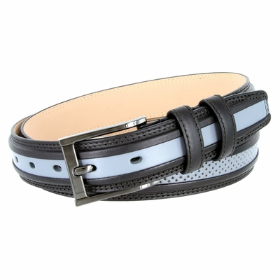 "BL009 Perforated Dress Leather Golf Belt - 1 1/4"" Wide BLACK/GRAY"