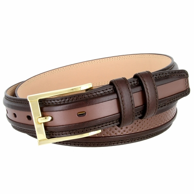 "BL009 Perforated Dress Leather Golf Belt - 1 1/4"" Wide BROWN"