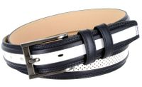 "BL009 Perforated Dress Leather Golf Belt - 1 1/4"" Wide NAVY/WHITE"