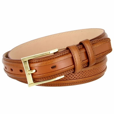 "BL009 Perforated Dress Leather Golf Belt - 1 1/4"" Wide TAN"