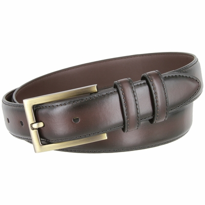 "BL010 Smooth Burnish Edge Styled Genuine Leather Office Dress Belt 1-1/8"" Wide - Brown"