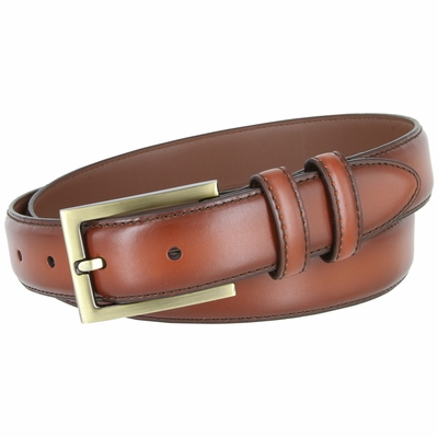 "BL010 Smooth Burnish Edge Styled Genuine Leather Office Dress Belt 1-1/8"" Wide - Tan"