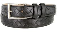 "BL029 Diamond Pattern Genuine Leather Professional Dress Belt - 1 1/8"" Wide BLACK"