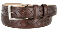 "BL029 Diamond Pattern Genuine Leather Professional Dress Belt - 1 1/8"" Wide BROWN"