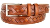 "BL029 Diamond Pattern Genuine Leather Professional Dress Belt - 1 1/8"" Wide TAN"