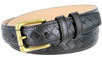 BL029 Solid Brass Roller Buckle Diamond Pattern Genuine Leather Professional Dress Belt - BLACK
