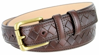BL029 Solid Brass Roller Buckle Diamond Pattern Genuine Leather Professional Dress Belt - BROWN