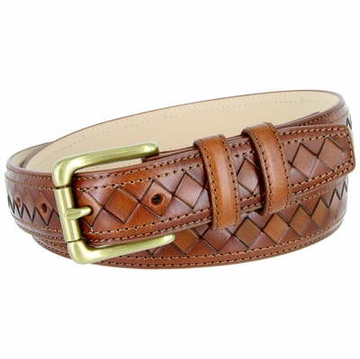 BL029 Solid Brass Roller Buckle Diamond Pattern Genuine Leather Professional Dress Belt - TAN