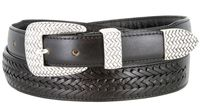 BL032 Basketweaved Classic Tapered Genuine Leather Professional Dress Belt - BLACK