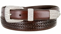 BL032 Basketweaved Classic Tapered Genuine Leather Professional Dress Belt - BROWN