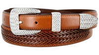 2372 Basket-weaved Classic Tapered Genuine Leather Professional Dress Belt - TAN
