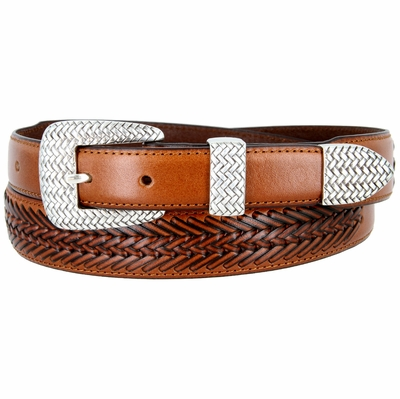 BL032 Basketweaved Classic Tapered Genuine Leather Professional Dress Belt - TAN