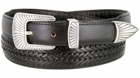 2371 Clam-shell Design Buckle Tapered Basket-weave Genuine Casual Dress Leather Belt - BLACK