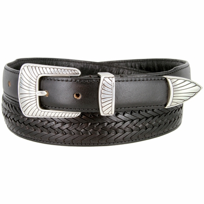 BL032 Clamshell Design Buckle Tapered Basketweave Genuine Casual Dress Leather Belt - BLACK