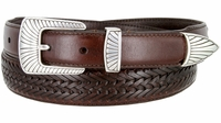 2371 Clam-shell Design Buckle Tapered Basket-weave Genuine Casual Dress Leather Belt - BROWN