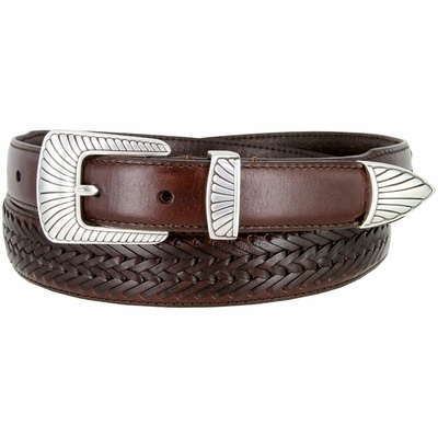BL032 Clamshell Design Buckle Tapered Basketweave Genuine Casual Dress Leather Belt - BROWN