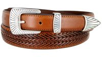2371 Clam-shell Design Buckle Tapered Basket-weave Genuine Casual Dress Leather Belt - TAN