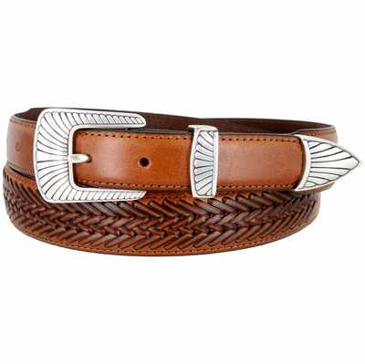 BL032 Clamshell Design Buckle Tapered Basketweave Genuine Casual Dress Leather Belt - TAN