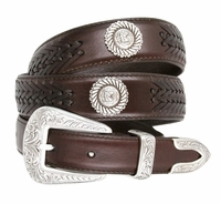 BL032 Floral Buckle Set Horse Head Roped Conchos Dress Casual Genuine Tapered Leather Belt - BROWN
