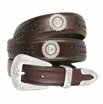 2370 Floral Buckle Set Horse Head Roped Conchos Dress Casual Genuine Tapered Leather Belt - BROWN
