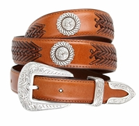 BL032 Floral Buckle Set Horse Head Roped Conchos Dress Casual Genuine Tapered Leather Belt - TAN