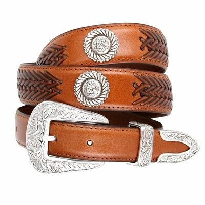 2370 Floral Buckle Set Horse Head Roped Conchos Dress Casual Genuine Tapered Leather Belt - TAN