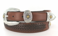BL032 Gold Star Texas State Seal western Leather Dress Concho Belt - 3 Colors Available