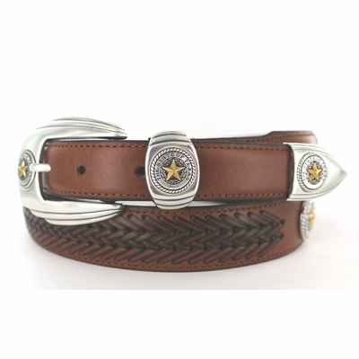 1132 Gold Star Texas State Seal Western Leather Dress Concho Belt - 3 Colors Available