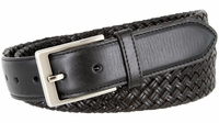 "BL035 Brushed Nickel Plated Buckle Cross-weaved Genuine Leather Dress Belt 1 3/8"" - BLACK"