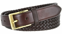 "BL035 Gold Plated Buckle Cross-weaved Genuine Leather Dress Belt 1 3/8"" - BROWN"