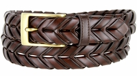 "BL039 Brushed Brass Plated Arrow Braided Woven Genuine Leather Dress Belt 1-1/8"" - BROWN"