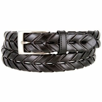 "BL039 Brushed Nickel Plated Arrow Braided Woven Genuine Leather Dress Belt 1-1/8"" - BLACK"